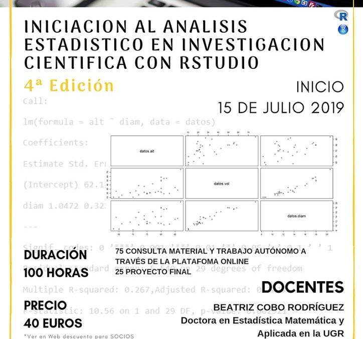 Iniciación al Análisis Estadístico en Investigación Científica con Rstudio. 4ª edición ONLINE